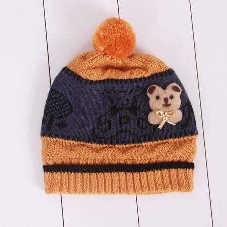 咪咪熊童装配饰男童毛球针织帽加厚小儿童卡通帽W79