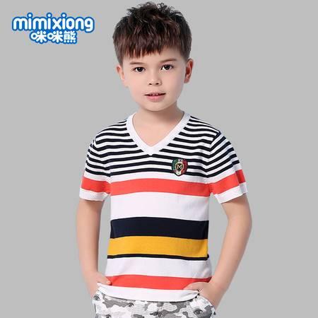 咪咪熊 童装2016夏季新款男童英伦条纹百搭短袖T恤63S100