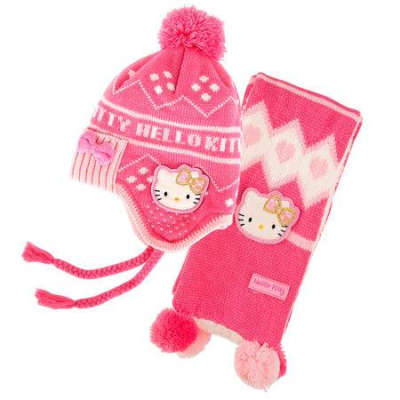 凯蒂猫/HELLOKITTY 儿童针织棉帽冬宝宝毛线帽子围巾两件套