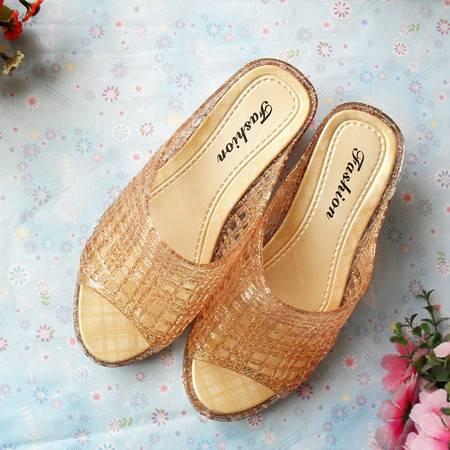 江水来夏季女式 水晶闪耀 居家休闲 高跟拖鞋