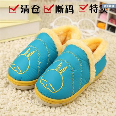 正品韩国流氓兔儿童包跟棉拖鞋 卡通毛绒冬季保暖防滑男女居家鞋