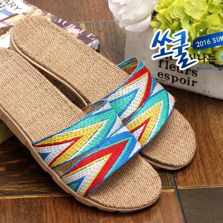 米奇菱亚麻拖鞋夏季男女韩版凉拖鞋居家拖鞋家居室内地板拖鞋包邮  16最新款式 天然环保材质 吸汗除