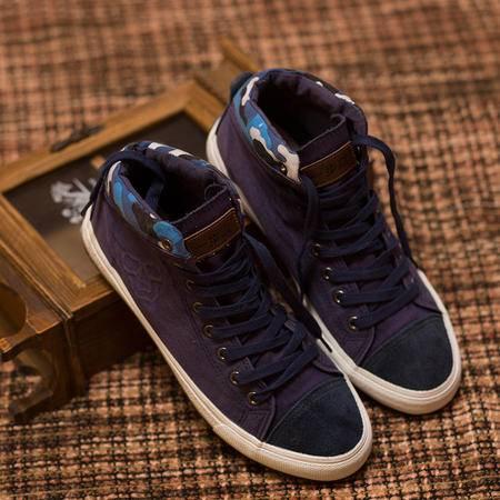 一步赢秋冬季新款男士高帮帆布鞋男透气休闲鞋潮流布鞋男生板鞋子8539