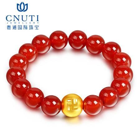 CNUTI粤通国际珠宝  黄金转运珠手链3D硬金999足金卐佛珠红玛瑙 金重约0.81g