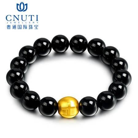CNUTI粤通国际珠宝  黄金转运珠手链999足金3D硬金土字黑玛瑙手链 约1.1g