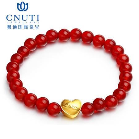 CNUTI粤通国际珠宝 黄金转运珠手链999足金3D硬金LOVE心形玛瑙 配红玛瑙手链 约0.87g
