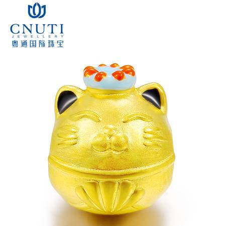 CNUTI粤通国际珠宝 黄金转运珠3D硬金999足金开运猫手链 约1.30g