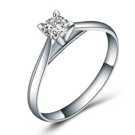 GZUAN古钻 玲珑 18K金钻石戒指女戒 J1007