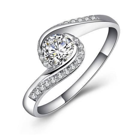 GZUAN古钻 深情一吻 51分18K金钻石戒指女戒 J1341