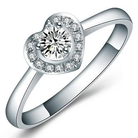 GZUAN古钻 爱之心 74分18K金钻石戒指女戒