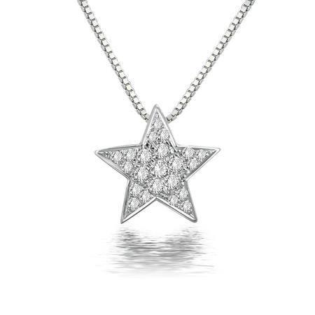 GZUAN古钻 星光 15分18K金钻石吊坠(赠18寸S925银镀金项链)