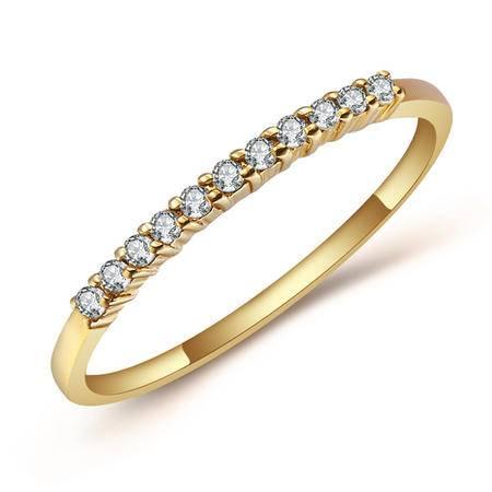GZUAN古钻 花冠 12分18K金钻石戒指女戒