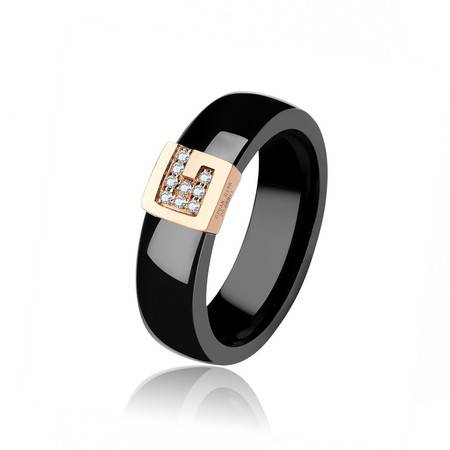 GZUAN古钻 包容 18K金精密陶瓷钻石戒指 男戒
