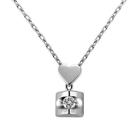 GZUAN古钻 不离不弃 18K金钻石吊坠(赠18寸S925银镀金项链)