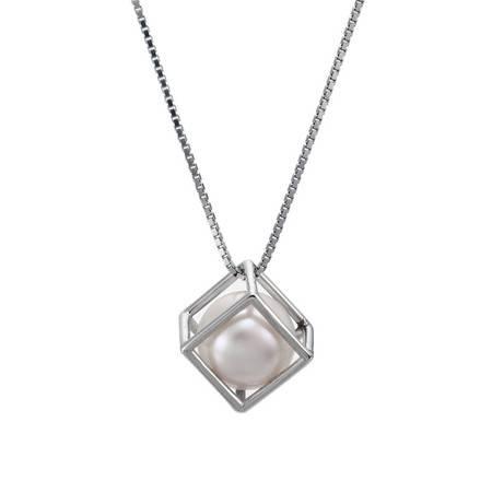 BF璀尚珠宝  18K白金珍珠吊坠 珍魔方珍珠女士吊坠 BFDZ0001(赠银链)