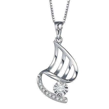 GZUAN古钻 述情 11分18K金钻石吊坠(赠18寸S925银镀金项链) YCM1431C