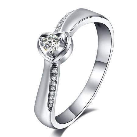 GZUAN古钻 18K金钻石情侣戒指女戒QL357B