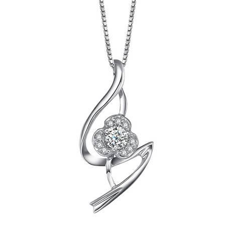 GZUAN古钻 绫薇 17分18K金钻石吊坠(赠18寸S925银镀金项链)YZ15932