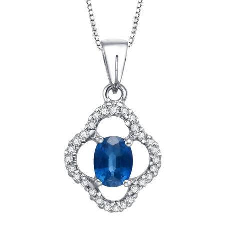 BF璀尚珠宝 50分18K金蓝宝石钻石吊坠(赠18寸S925银镀金项链)