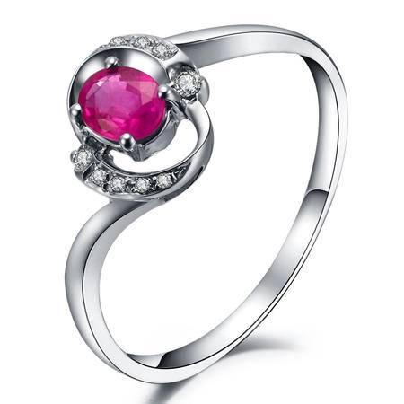 GZUAN古钻 30分18K金红宝石钻石女戒指