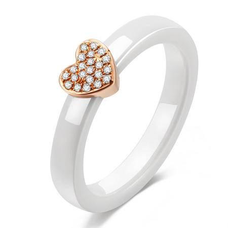 GZUAN古钻 心恋 18K金精密陶瓷钻石戒指女戒