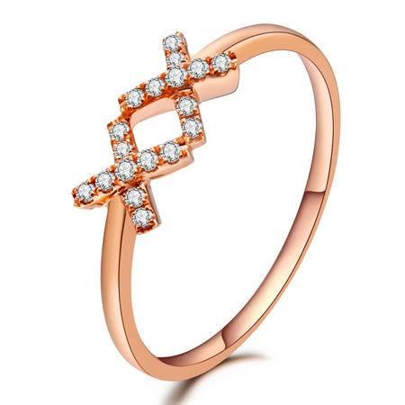GZUAN古钻 18K玫瑰金钻石戒指女戒