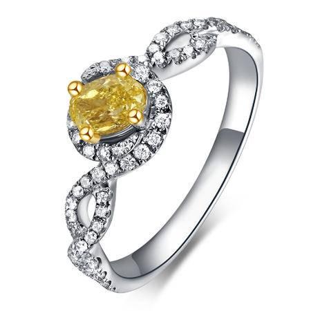 GZUAN古钻 芷嫣 黄钻32分18K钻石女戒指  LFJ0003