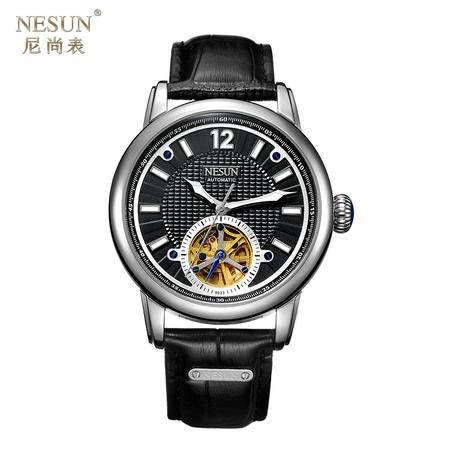 尼尚(Nesun)手表男士表 自动机械表 镂空飞轮男式表 机械男士表 皮带 MN9033B