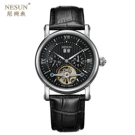 尼尚(Nesun)手表全自动机械手表镂空男表 陀飞轮男士手表 夜光防水男士表 MN9503B