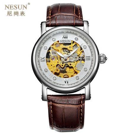 尼尚(Nesun)手表男士机械表 镂空 精钢防水 时尚商务休闲表 棕皮银色款 MN9501B
