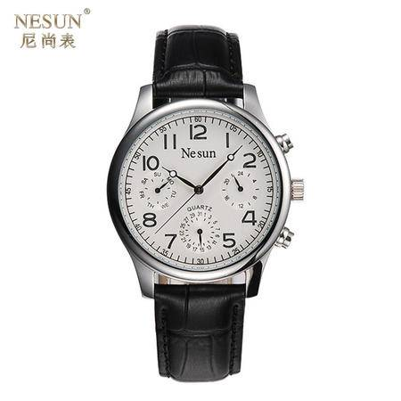 尼尚 (Nesun) 时尚男士表 防水多功能复古手表 夜光男表 黑色皮带