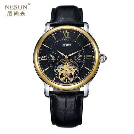 尼尚(Nesun)手表男士表 全自动机械手表 镂空飞轮 夜光防水男士手表MN9091C 黑金面
