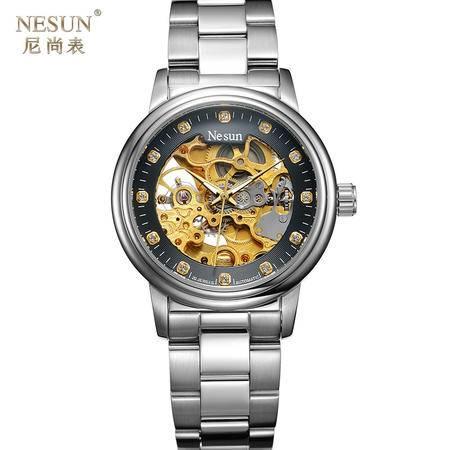 尼尚品质手表男士全自动机械表镂空 陀飞轮时尚防水钢带夜光MS9015B