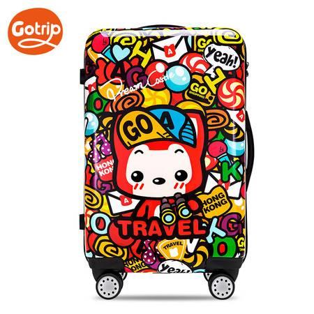 gotrip拉杆箱阿狸香港可爱登机箱卡通旅行箱密码箱万向轮行李箱28英寸