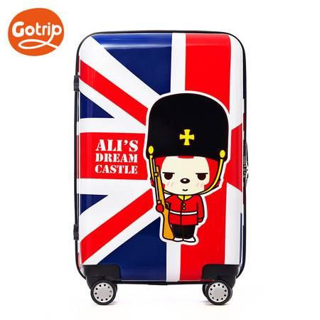 gotrip拉杆箱阿狸米字旗卡通可爱行李箱飞机万向轮登机箱子旅行箱18英寸