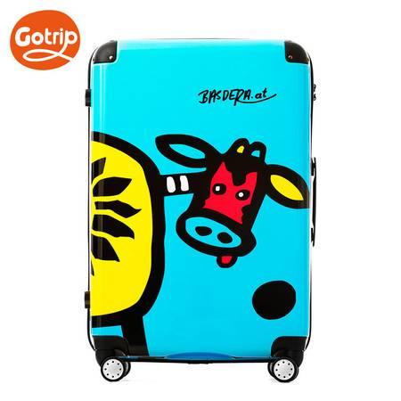 GOTRIP可爱卡通旅行箱包奶牛印花万向轮拉杆箱女 万向轮28英寸