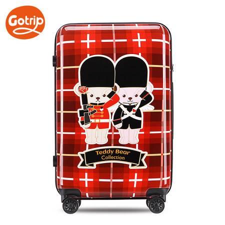 gotrip卡通拉杆箱泰迪卫兵旅行箱可爱女万向轮密码行李箱子24英寸