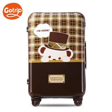 gotrip泰迪熊拉杆箱密码学生万向轮女行李箱可爱旅行箱24英寸