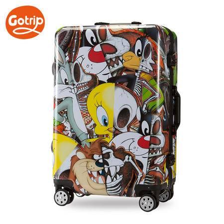 Go·trip铝框箱华纳乐一通新款骷髅联盟拉杆箱铝框箱旅行箱20英寸【预售8.16发货】
