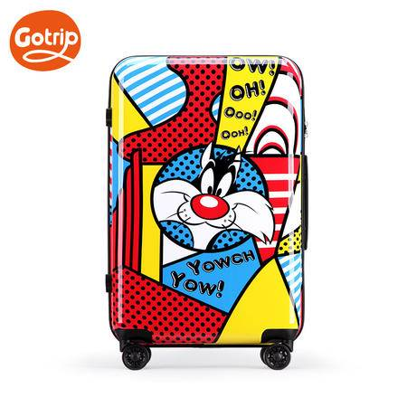 GO·TRIP 卡通旅行箱万向轮拉杆箱可爱乐一通波普女行李箱24英寸