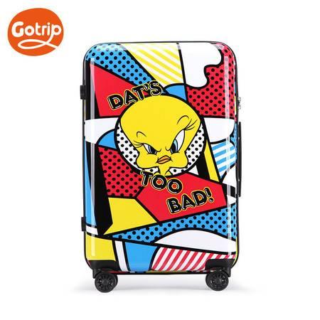 GO·TRIP 卡通旅行箱万向轮拉杆箱可爱乐一通波普女行李箱20英寸