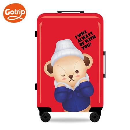 GO·TRIP 泰迪手绘拉杆箱卡通行李箱拉杆女可爱学生万向轮密码旅行箱