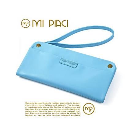 Mi Piaci同精品coach新色系糖果色韩版长款头层牛皮钱包手拿包