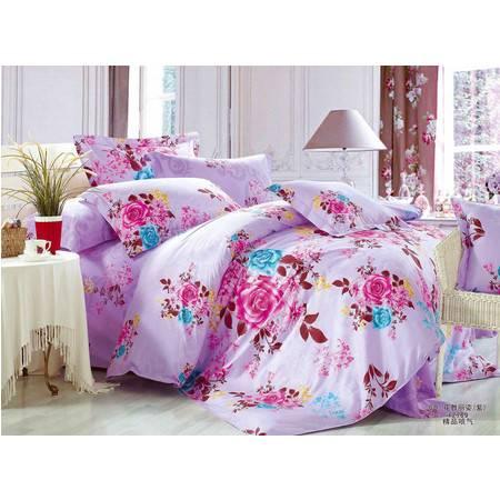 优然之家家纺 URAN 全棉喷气斜纹四件套床上用品1.5米床 花舞丽姿