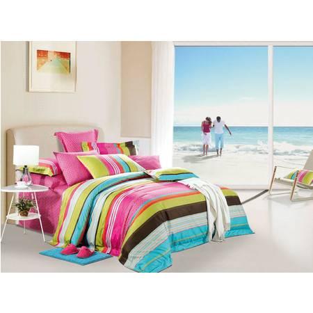 优然之家家纺URAN 全棉贡缎活性四件套床上用品 情迷夏威夷1.8米床