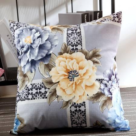 优然之家家纺 URAN 53*53cm丝绒印花时尚靠垫-蓝色