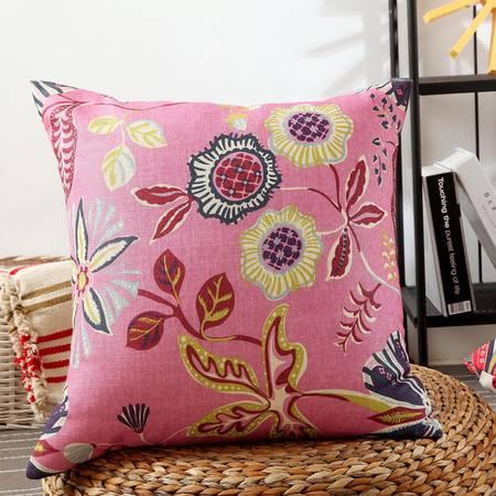 优然之家家纺 URAN 53*53cm亚麻印花时尚靠垫-粉色