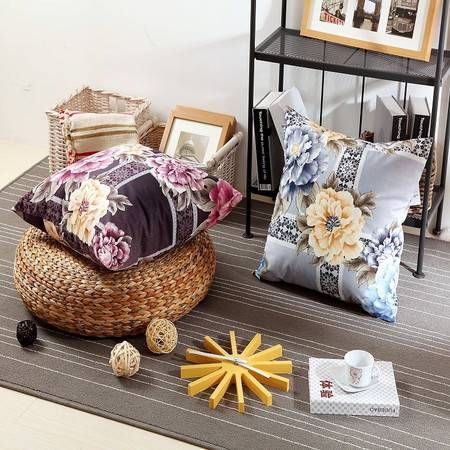 优然之家家纺 URAN 53*53cm丝绒印花时尚靠垫-紫色
