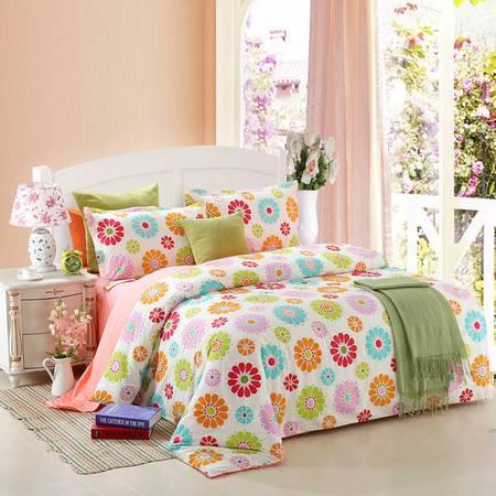 优然之家家纺 URAN 1.5m床全棉斜纹环保四件套-七彩阳光