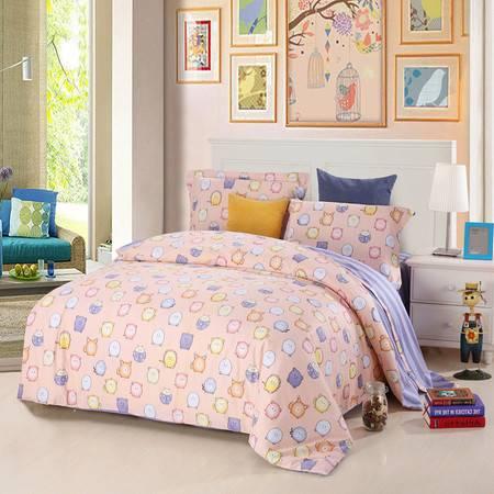 优然之家家纺URAN 1.5米床全棉生态缎纹四件套床上用品-百变萌宠
